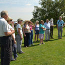 Peter Knight explaining the wonders and mysteries of Avebury Stone Circle August 2013