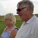 Frank and Elaine dowse for the Michael Line on the avenue south of Avebury, August 201