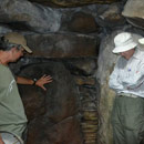 Inside West Kennet Long Barrow with Peter Knight on a day trip in August 2013