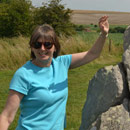 Maureen enjoying the day out at The Avenue near Avebury