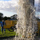 Water gushing from a borehole