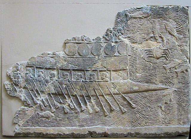 Assyrian warship (probably built by the Phoenicians) with two rows of oars, relief from Ninevah, c. 700BC