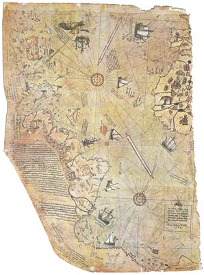 Surviving fragment of the Piri Reis map showing Central & South America shores and west coast of Africa