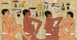 Ancient Egyptians practicing Reflexology